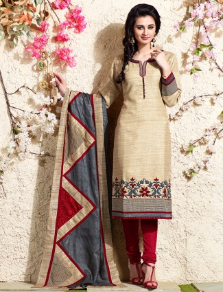 Cream festive chanderi silk salwar suit