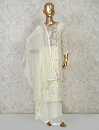Cream georgette festive exclusive punjabi palazzo suit