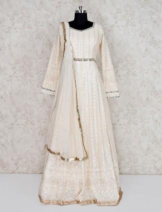 Cream georgette floor length pakistani anarkali suit