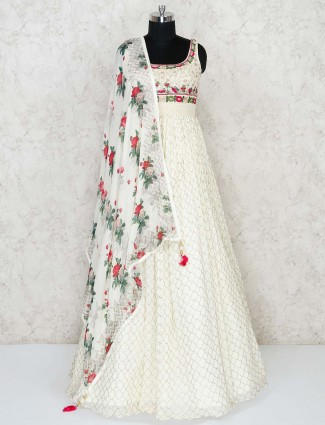 Cream georgette floor length party wear anarkali suit