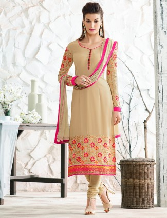 Cream georgette salwar suit