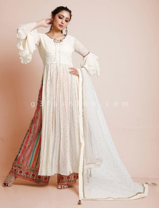 Cream georgette wedding occasion palazzo suit