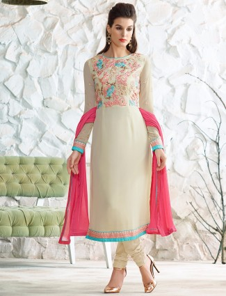 Cream georgette wonderful salwar suit