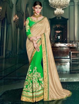 Cream green silk georgtte half and half saree