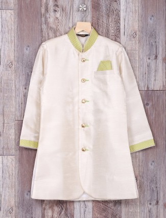 Cream green silk wedding wear indo western