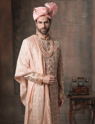 Cream groom sherwani with dupatta in silk fabric