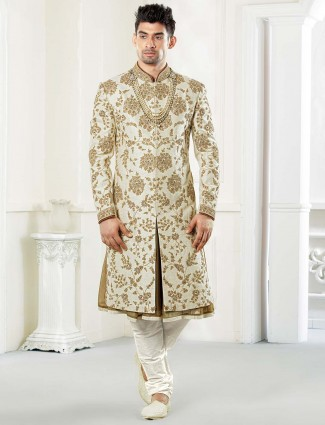 Cream groom wear raw silk fabric sherwani