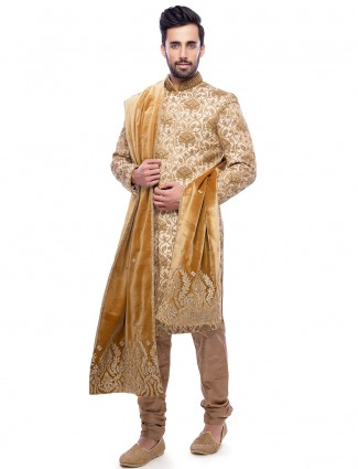 Cream groom wedding wear designer sherwani