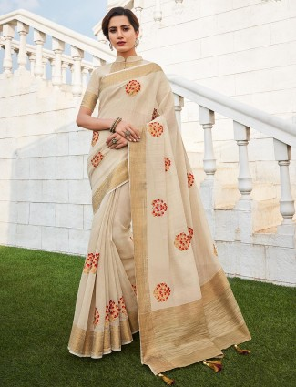 Cream handloom saree with the golden border