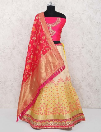 Cream hue banarasi silk semi stitched lehenga choli