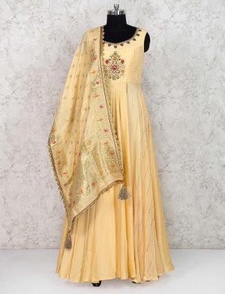 Cream hue cotton silk anarkali salwar suit