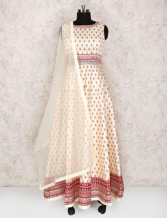 Cream hue cotton silk floor lrngth anarkali suit