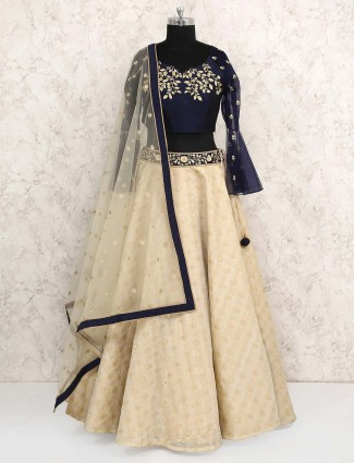 Cream hue cotton silk lehenga choli