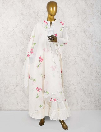 Cream hue linen sharara suit