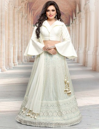 Cream hue net lovely lehenga choli