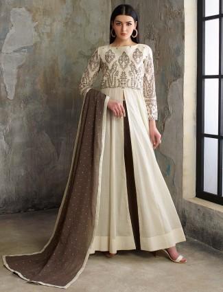 Cream hue pretty floor length anarkali salwar suit