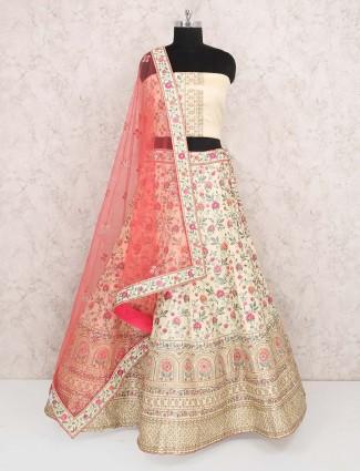 Cream hue raw silk wedding semi stitched lehenga choli