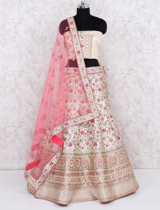 Cream hue raw silk wedding wear semi stitched lehenga choli