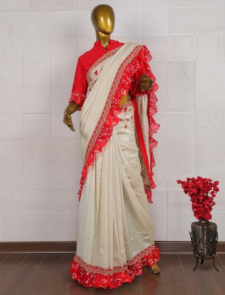 Cream hue silk party saree