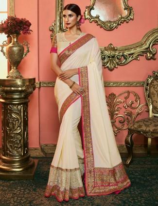Cream hue silk saree for wedding