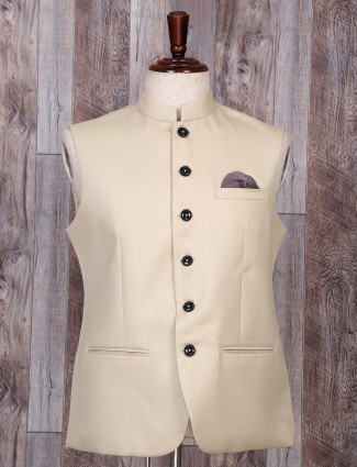 Cream hue terry rayon waistcoat