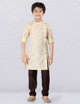 Cream hued printed boys cotton kurta suit