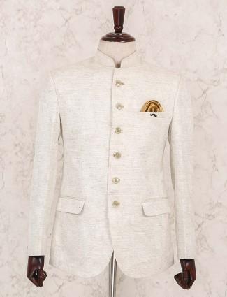 Cream hued solid jodhpuri blazer
