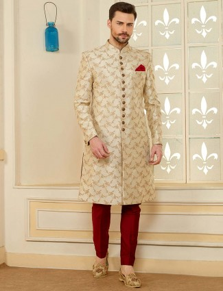 Cream hued terry rayon fabric sherwani