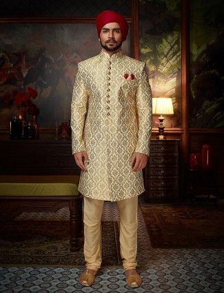 Cream jamawar fabric sherwani