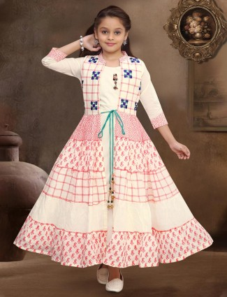 Cream jecket style printed girls gown