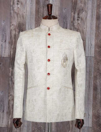 Cream jodhpuri suit in terry rayon fabric