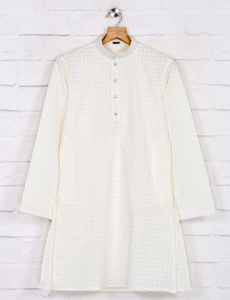 Cream lakhnavi work cotton kurta pajama