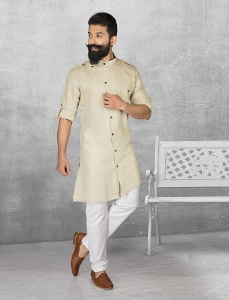 Cream linen simple kurta suit
