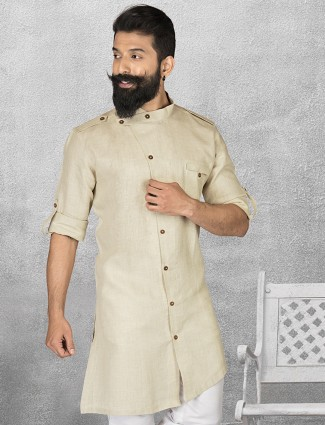 Cream linen simple short pathani