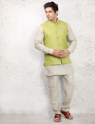 Cream linen waistcoat set