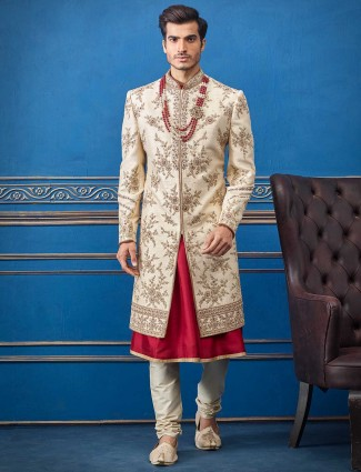 Cream magenta colour combination silk sherwani