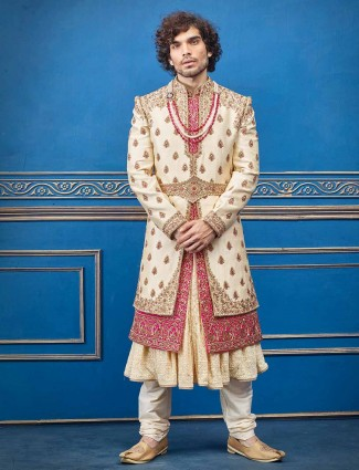 Cream magenta layer style silk groom sherwani