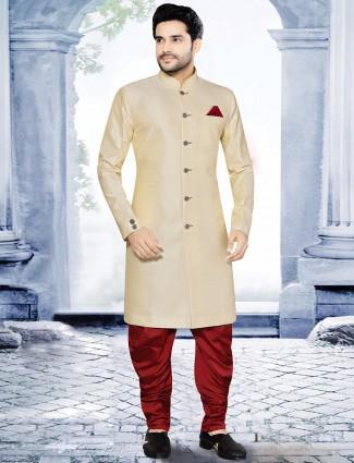 Cream maroon raw silk kurta suit