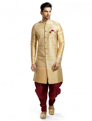 Cream maroon silk kurta suit