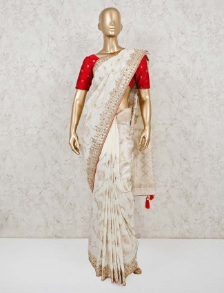 Cream muga silk saree for weddings