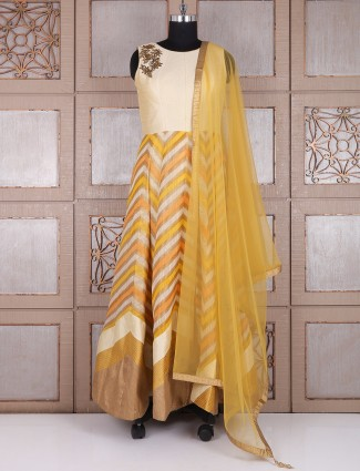 Cream mustrad yellow long anarkali suit