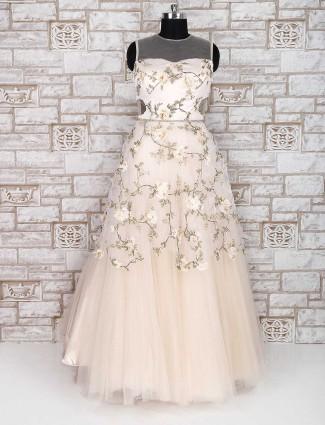 Cream net designer gown