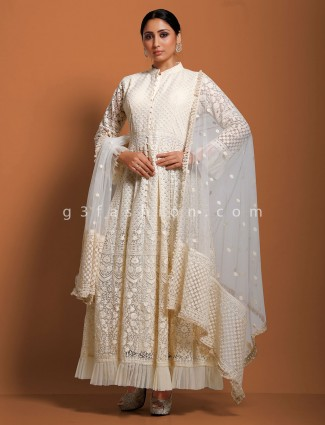 Cream net floor length anarkali suit