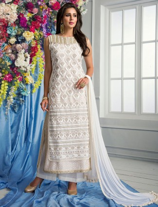 Cream net party wear salwar suit