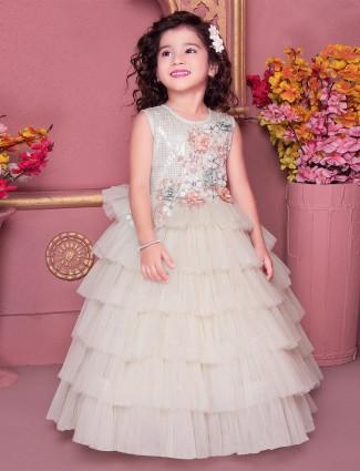 Cream net wedding function gown