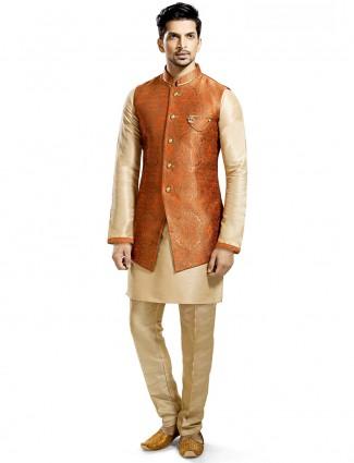 Cream orange waistcoat set in silk fabric