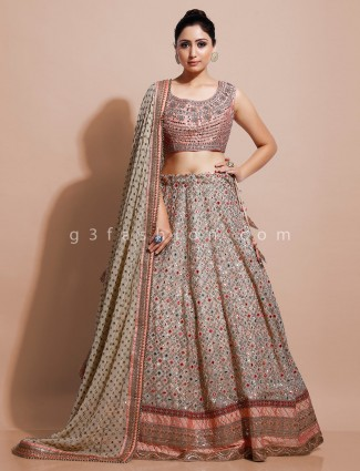 Cream organza tissue silk wedding lehenga choli