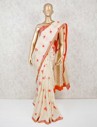 Cream pashmina silk with readymade blouse for festive