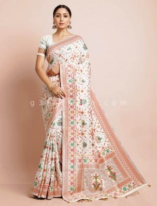 Cream patola silk designer saree