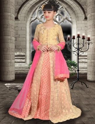 Cream peach wedding wear lehenga choli